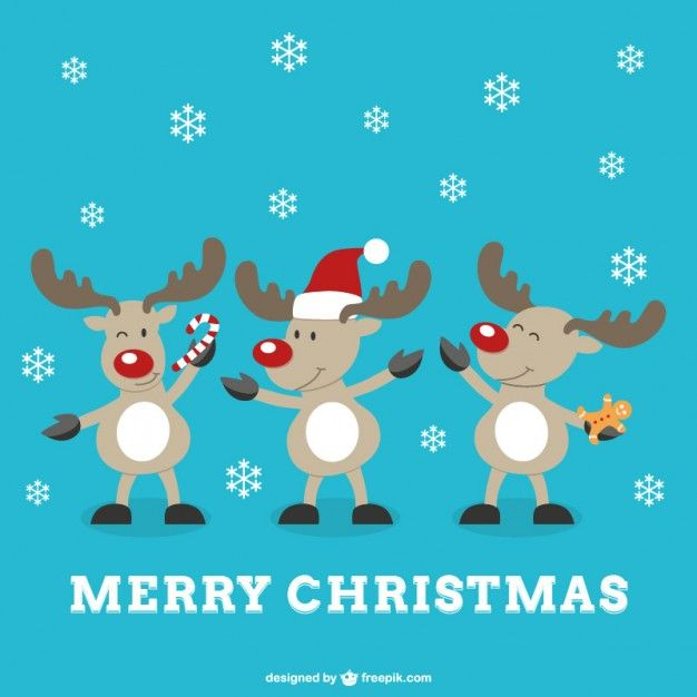 Great Merry Christmas Vector With Reindeers   Free Vector   Christmas Card