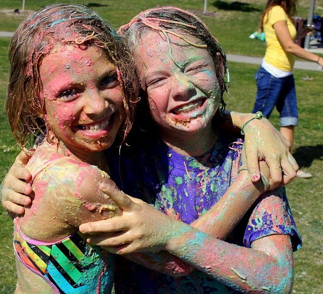 """BEST PARTY EVER! Messy party for kids. Flour-y """"Duck, Duck, Goose"""", pudding slip n slide, hands free pie eating contest & painted spaghetti wars. All washed off by the local fire department! These kids are going to remember this FOREVER! So fun!"""