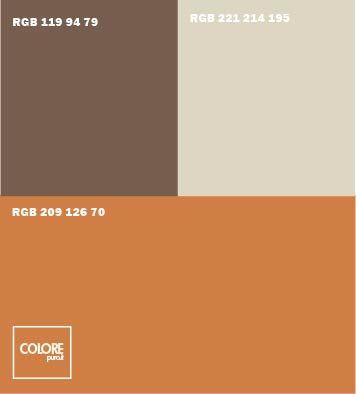Abbinamento colore arancione spento marrone grigio caldo