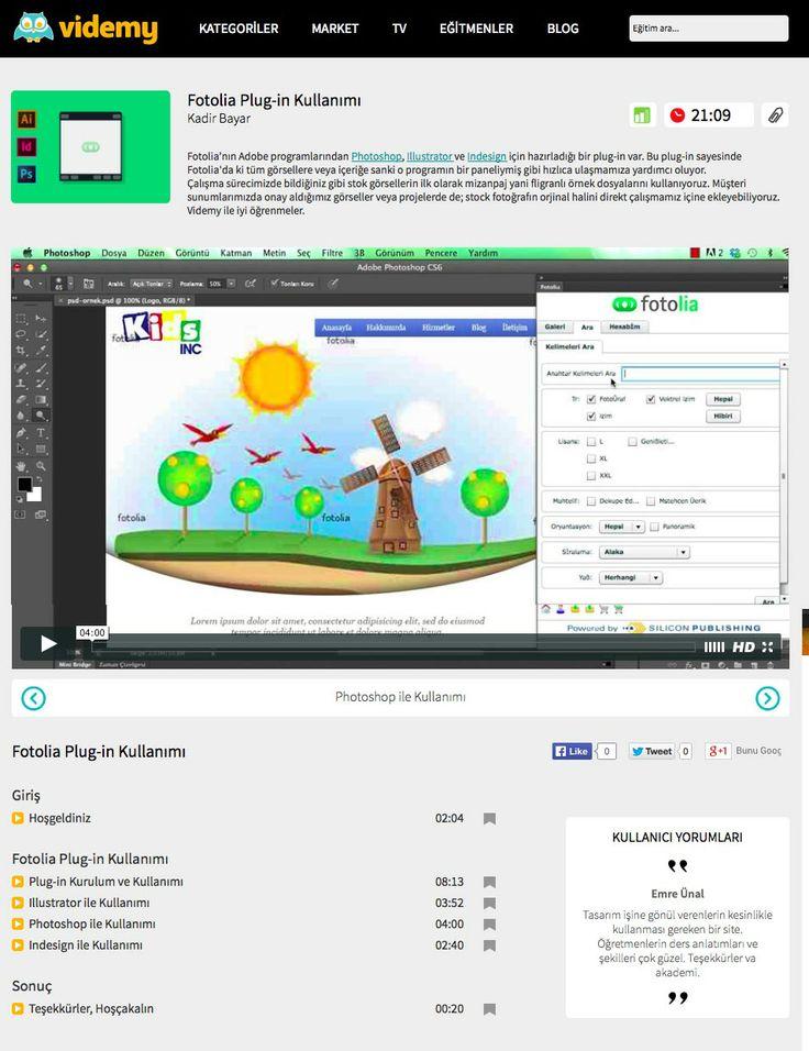 Dünyanın En büyük görsel tedarikçilerinden biri olan Fotolia.com üzerinden görsellere çok daha hızlı bir şekilde ulaşabilirsiniz. Adobe programlarıyla entegre olan Plug-in kullanımı videmy.com'da http://videmy.com/Egitimler/C/4/65/Fotolia_Plug-in_Kullanimi/V/788/