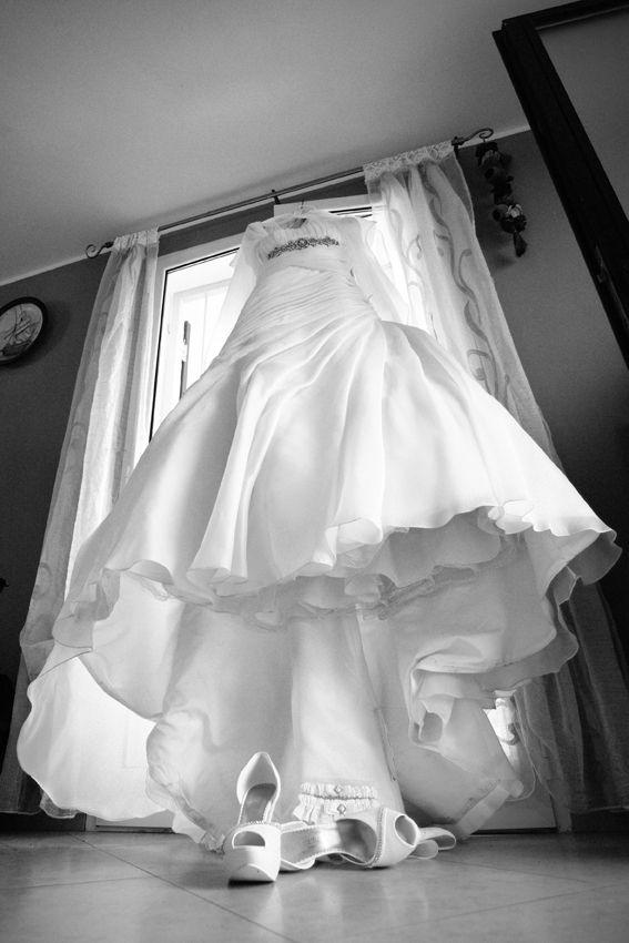 black and white portrait for La Sposa dress