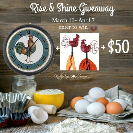 Enter the Rise and Shine Giveaway! Win a set of Rooster Wall hooks, rooster wall clock and $50! #giveaway #raffle via @marilynlesniak
