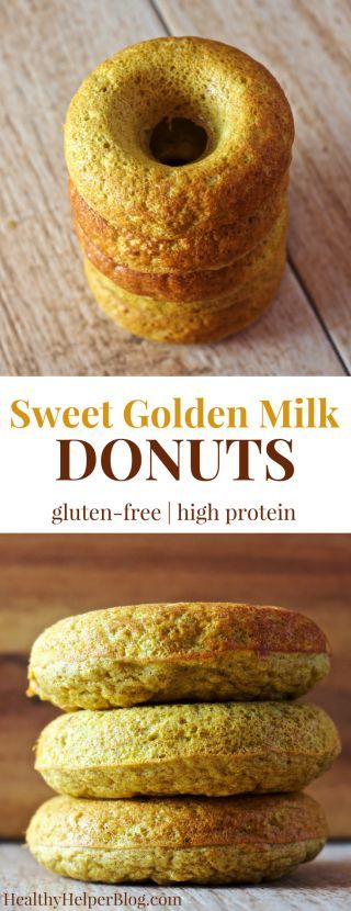 Sweet Golden Milk Donuts   Healthy Helper @Healthy_Helper Healthy, high protein donuts that shine as golden as the sun! Get your daily dose of inflammation fighting turmeric in with these, Sweet Golden Milk Protein Donuts. Gluten-free, whole grain, and full of delicious flavor.