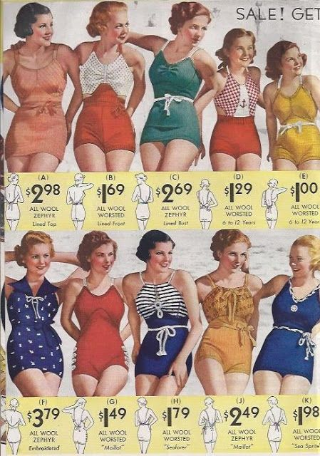 What the Dahlias would wear to the beach in 1934--made of a fine-knit wool fabric. The Lastex-wool blend that will revolutionize swimsuits isn't available until 1936.
