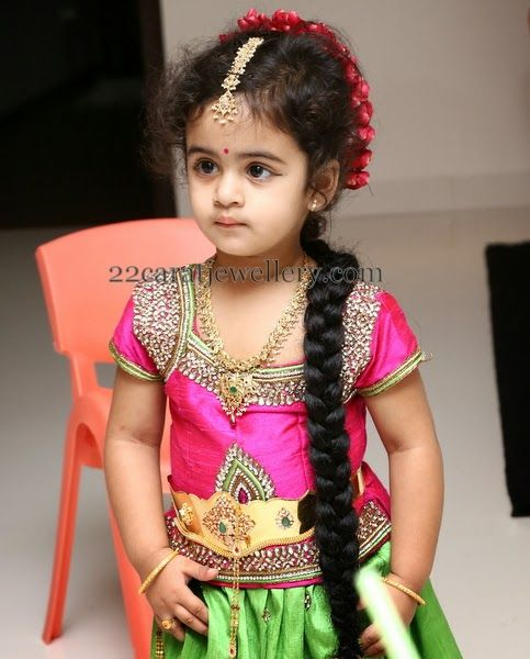Baby In Uncut Set And Vaddanam Trendy Heavy Vaddanam