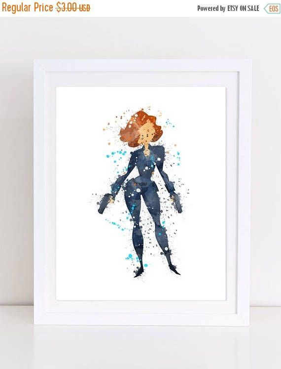 60%OFF avengers watercolor black widow watercolor watercolor
