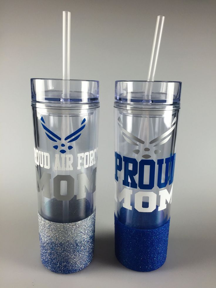 Proud Air Force Mom tumblers,water bottles. Both are glitter dipped. Blue,Silver,White. by BitsyBlush on Etsy
