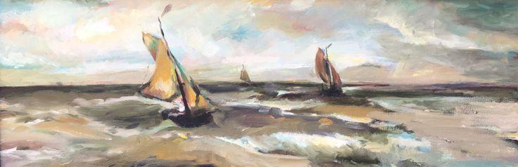 Vissersschepen voor de kust van Scheveningen. Naar een aquarel van Breitner. 90x30cm. Olieverf op doek. 2010.