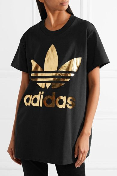 216b114d5939d adidas Originals - Trefoil Metallic Printed Cotton-jersey T-shirt - Black