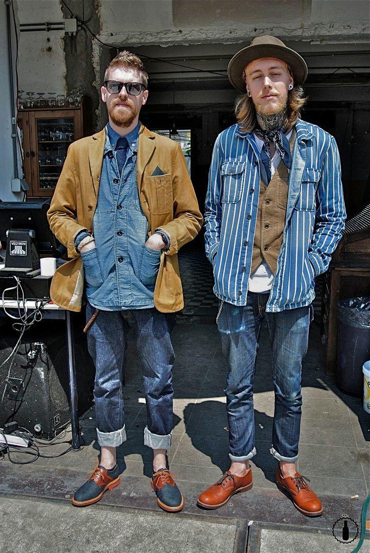 Indigo blue;層次:外套x背心x襯衫x原色褲x皮靴,開放賞玩。 #NudieJeans