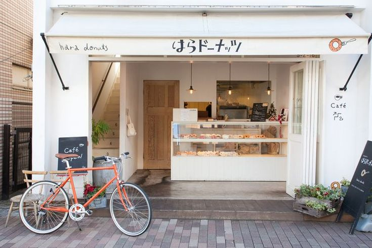 Tokyo Bike & Hara Donuts, Tokyo-love the clean aesthetic warmed by washed wood and greenery
