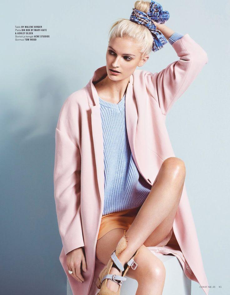 Baby Pink Coat + Baby Blue Knit [via costume magazine finland] #SS14 www.blueisinfashionthisyear.com