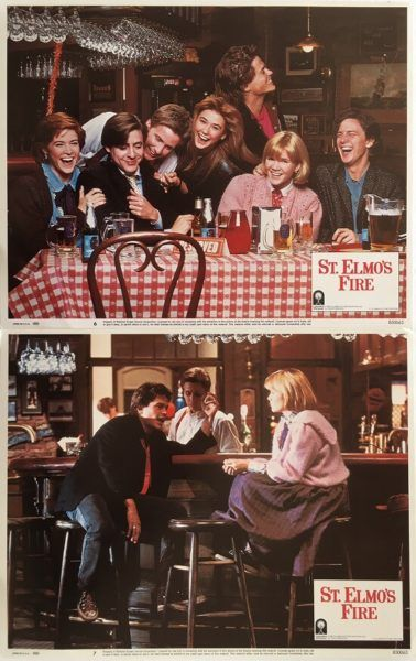 St. Elmo's Fire original set of 1985 US Lobby Cards Qty x 8, staring Demi Moore, Rob Lowe, Andrew McCarthy, Emilio Estevez, Mare Winningham, Judd Nelson, Ally Sheedy, Andie MacDowell and Martin Balsam. Available for purchase from our website.