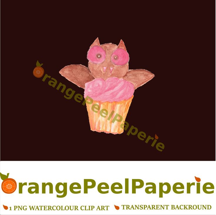 Halloween ClipArt, Bat Cupcake, Watercolour Cupcakes, Cupcake Clip Art, Halloween Bakery Art, Fall Clip Art, Cute Halloween Vectors, PNG by OrangePeelPaperie on Etsy