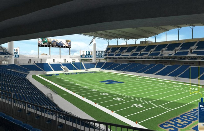 Winnipeg Blue Bombers new home as of the 2013 season. Investors Group Field.