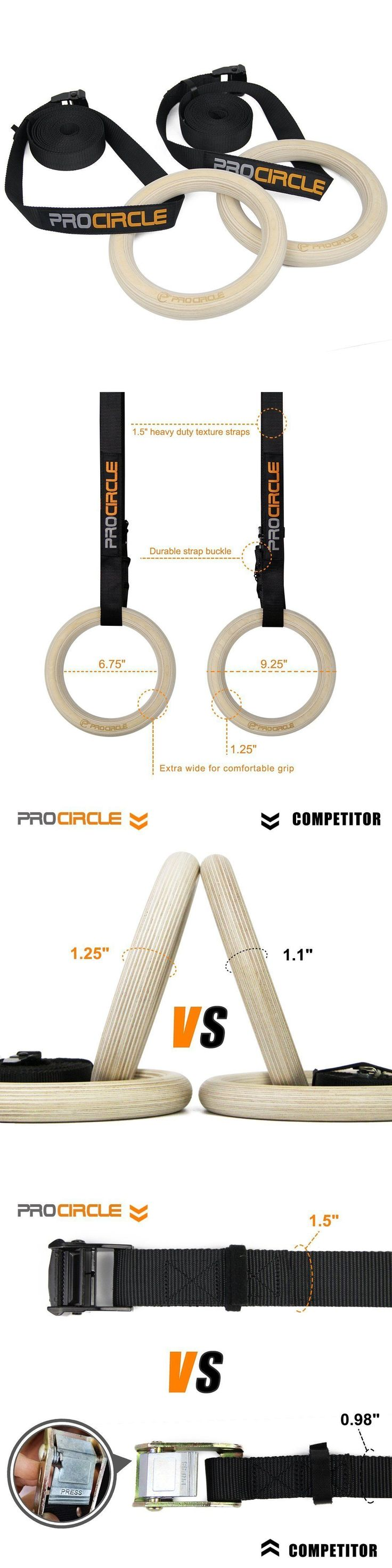 Other Strength Training 28067: Procircle Wooden Gymnastic Rings Olympic Gym Rings W/ Adjustable Straps Crossfit BUY IT NOW ONLY: $38.99