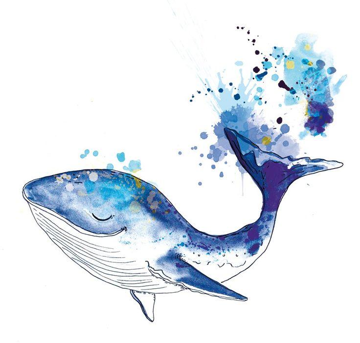 рисунок киты акварель