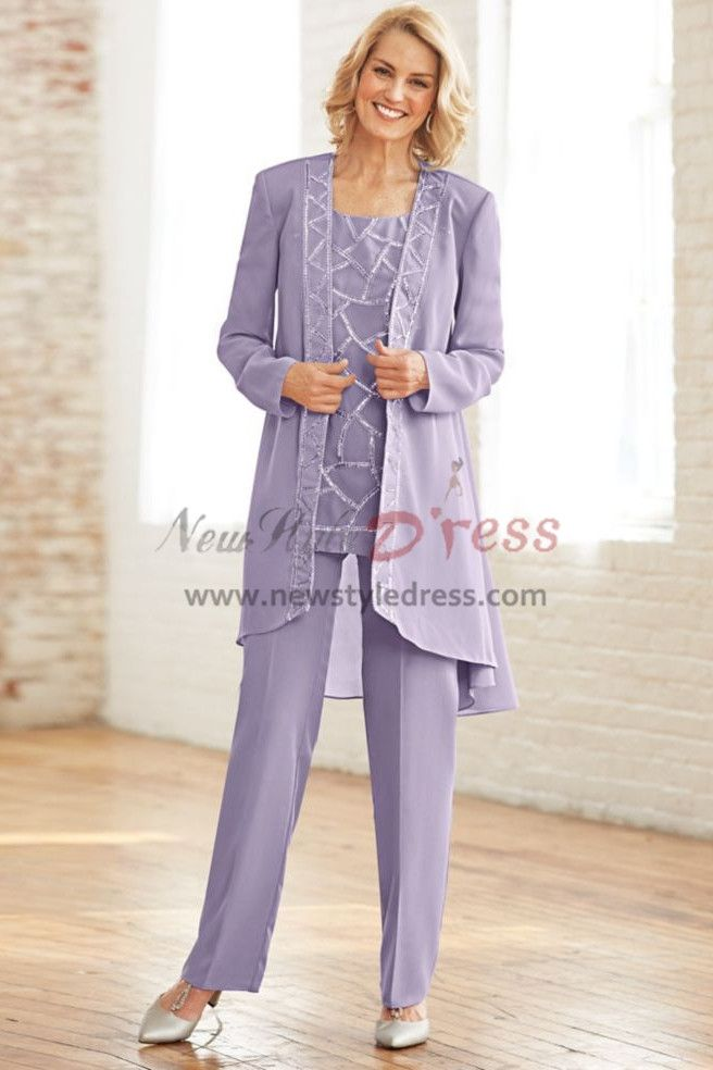 f26b089a92bf Lavender Chiffon Mother of the bride pant suit dress with Sequins Elastic  waist Trouser Plus size
