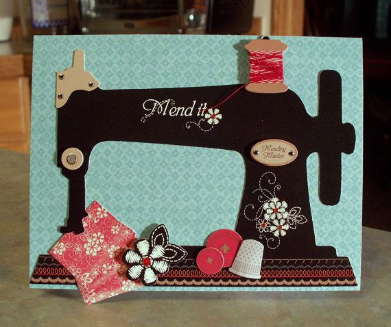 Handmade Get Well Card - Large 3D Sewing Machine, made using products from Hot Off the Press.