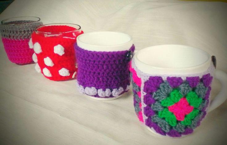 Fundas para tazas en crochet
