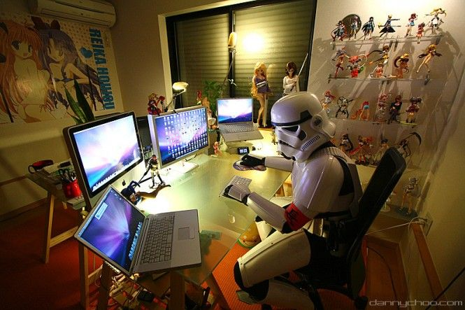 Imperial Storm Trooper relaxing at home after a hard day's work.