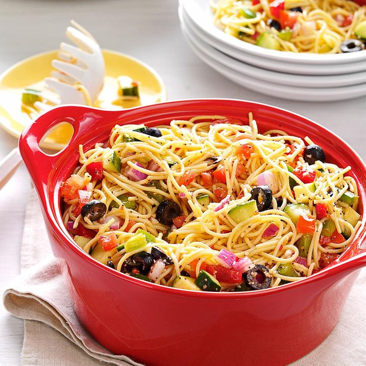 California Pasta Salad Recipe -Not only does this salad travel well to get-togethers such as picnics or tailgate parties, but people absolutely love it when it gets there. —Jeanette Krembas, Laguna Niguel, California