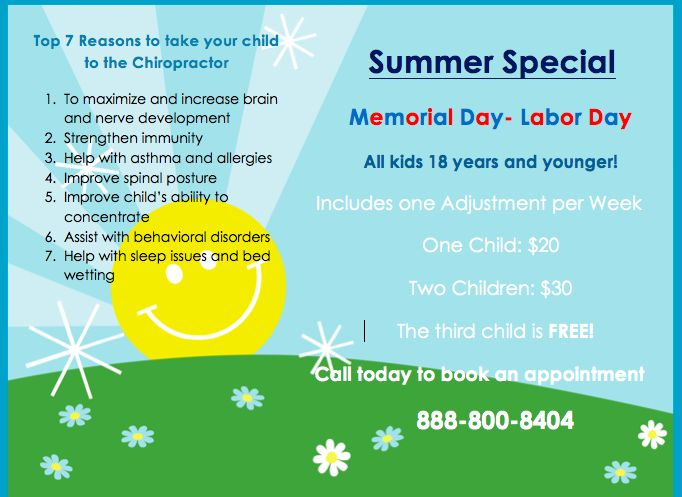 Summer Special!! Don't miss this opportunity for your children and call 888-800-8404 to make appointments #chiropracticcare #special #benefits #chiropractorscare