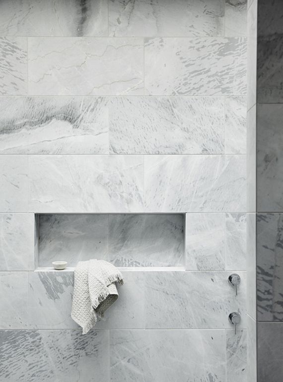 White marble showers | Fiona Lynch