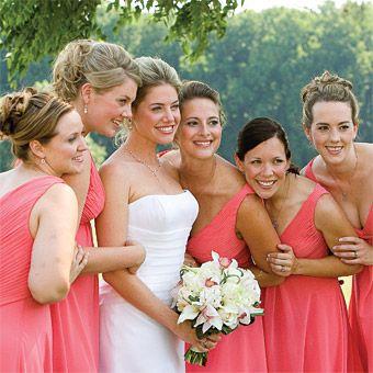 salmon-colored Amsale bridesmaids