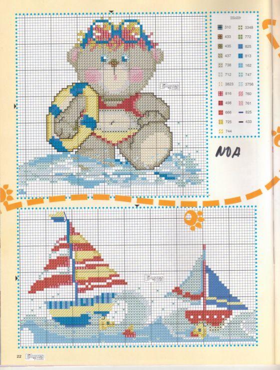 beach teddy bear cross stitch