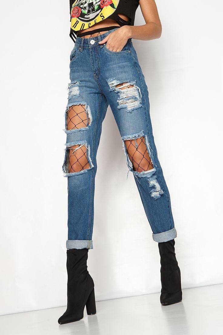 Damsen Denim Ripped Mom Jeans