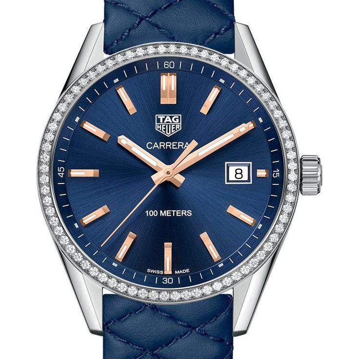 Tag Heuer Women's Carrera Quartz Blue Dial & Quilted Leather Diamond Watch 39MM WAR1114.FC6391