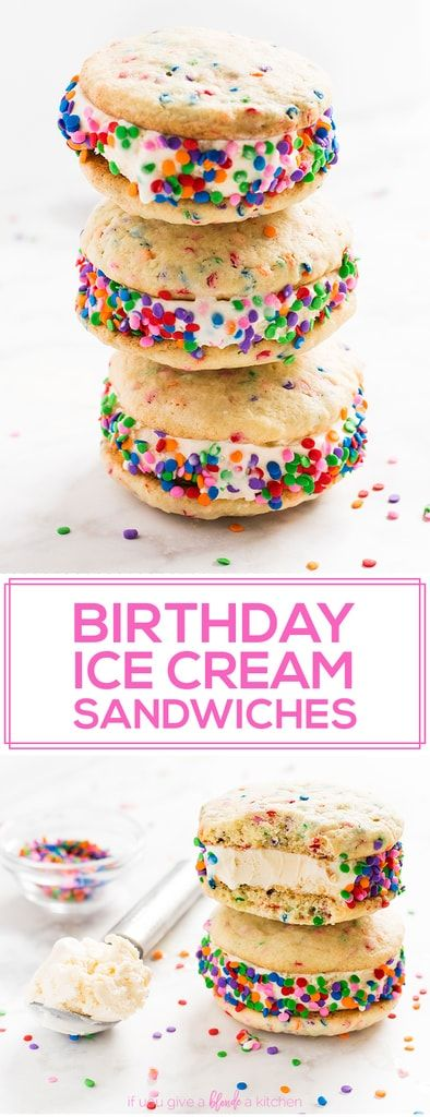 Birthday cake ice cream sandwiches are the BEST birthday dessert. Sprinkle sugar cookies and ice cream are sandwiched together and covered in sprinkles for a sweet treat. Make them for kid's birthday parties, summer vacations or for a weekend girls night!
