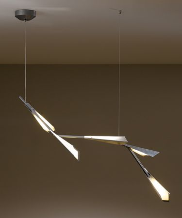 This suspension light from hubbardton forge is not just a lighting fixture but also a lighting sculpture influenced by the artistry of feathers and quills