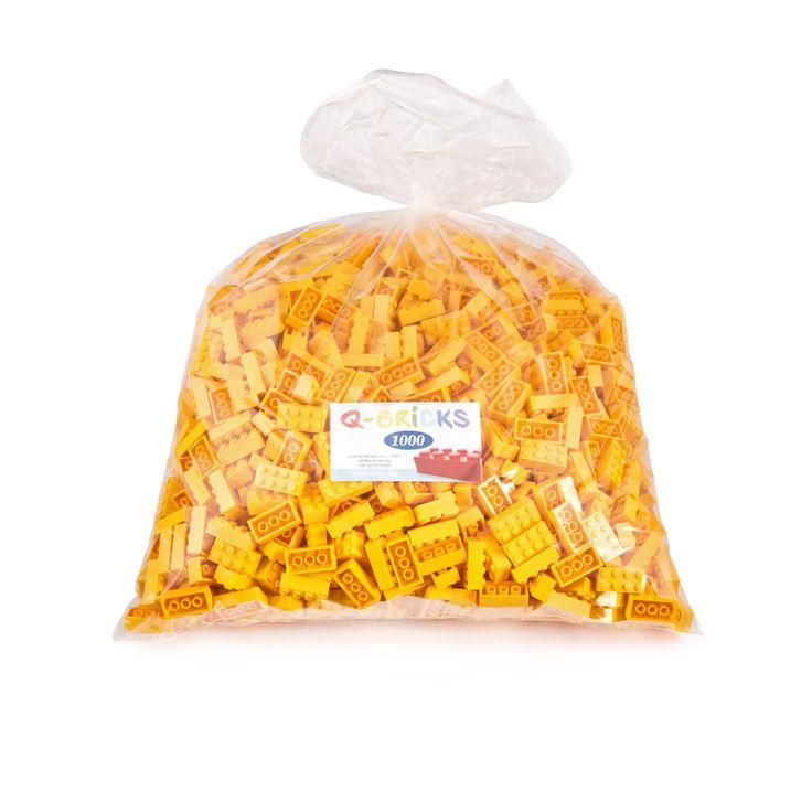 Mattoncini per bambini 1000pz giallo - Yellow lego bricks bag 1000pcs