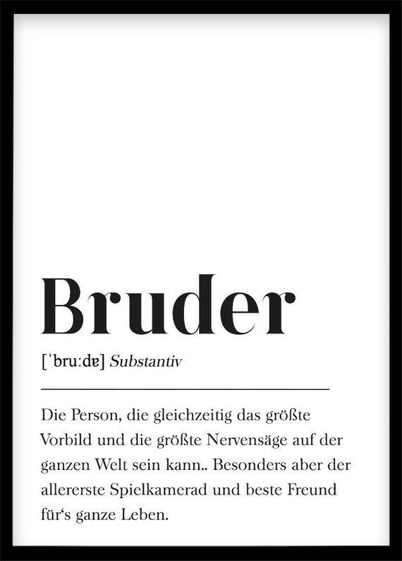 Bruder Definition, Geschenk für Bruder, Weihnachtsgeschenk Familie, Plakat Wörterbuch, Poster mit Text, Skandinavisch Schwarz Weiß