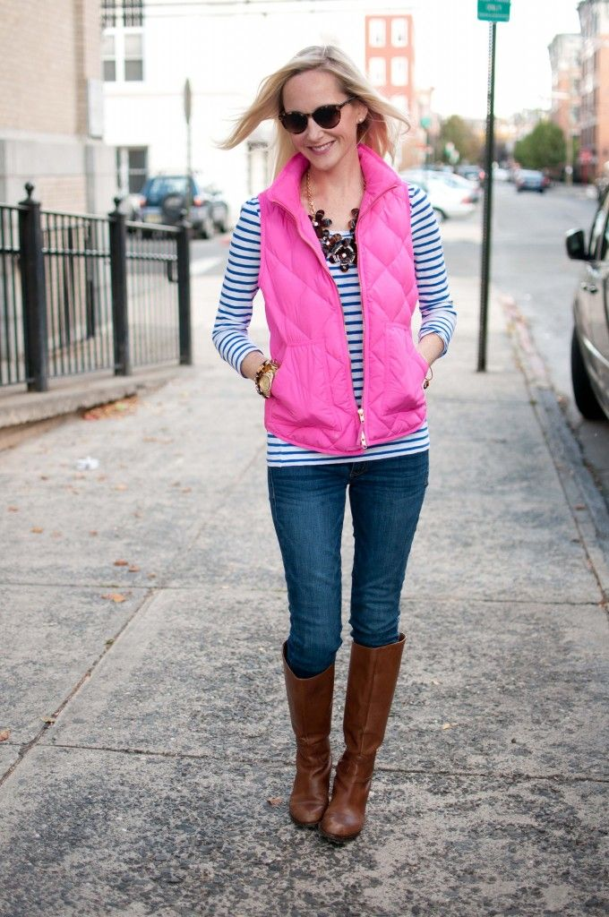 Going Casual: Hot Pink Vests, Striped Shirts and Tortoise Statement Necklaces