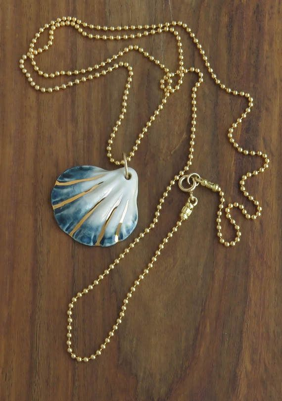 porcelain jewelry, beach necklace, mermaid necklace, porcelain necklace, shell necklaces, mothers day, ocean necklace, nautical necklace