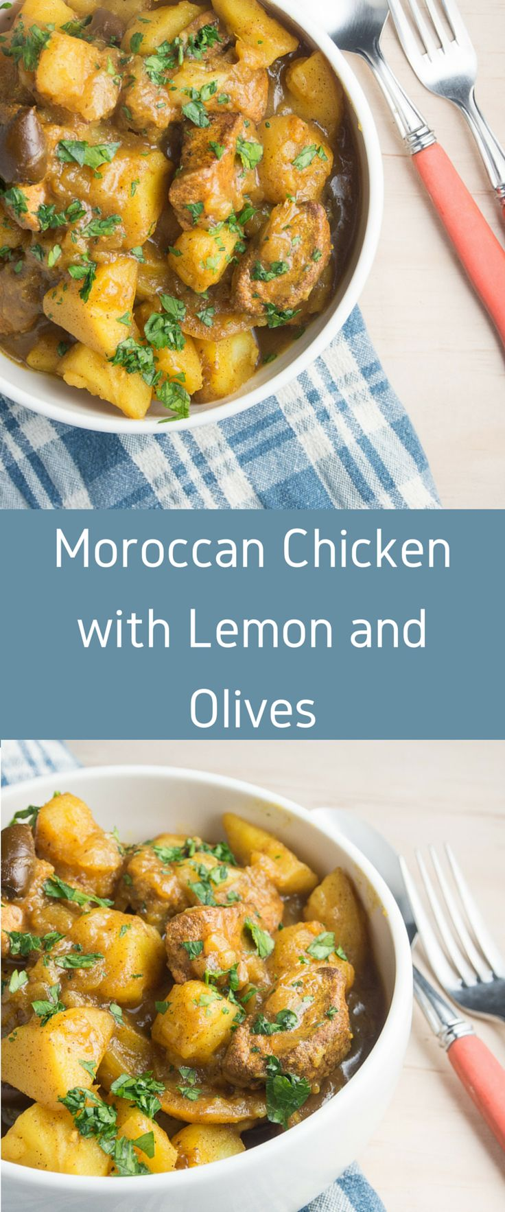 Moroccan Chicken with Lemon and Olives.  One pot recipe full of citrus flavours
