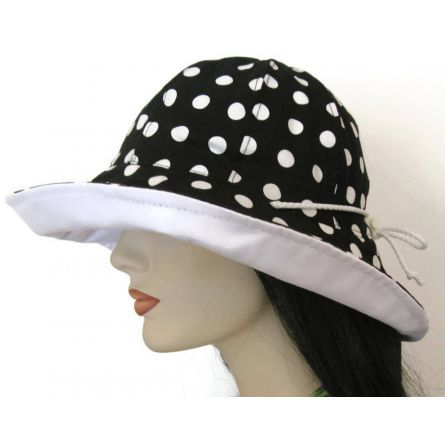 Fashion :: Hats :: Beach Hat, Reversible, black and white polka dots by Mad Cap $49.95