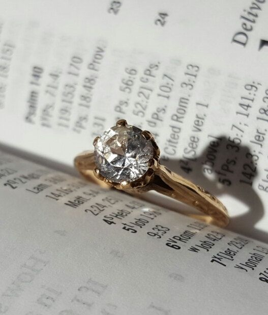 Edwardian 10K Gold with Sapphire Solitaire by BlingThingsJewlery