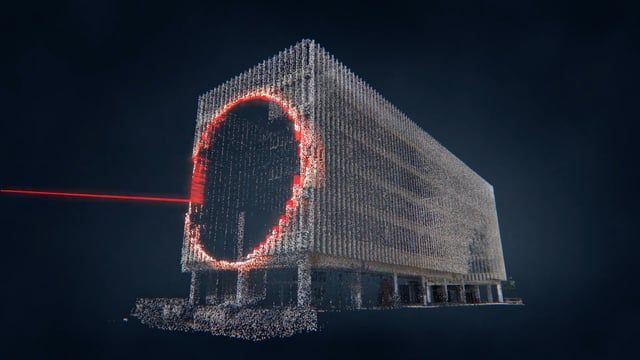 LIDAR scan point cloud sonification of the old post office in Houston.    Dataset provided by Alexandre Czetwertynski
