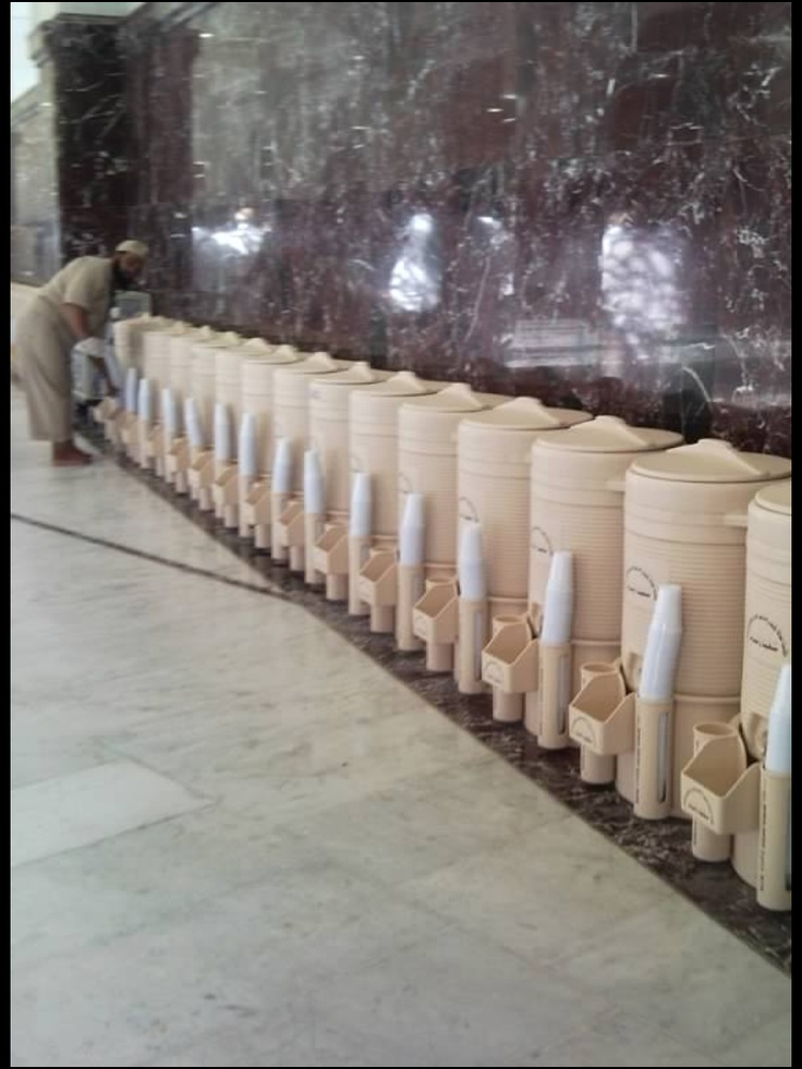 One of the many lines of containers  all over masjidil haram, provided for our enjoyment to drink of zam zam water, alhumdulillah