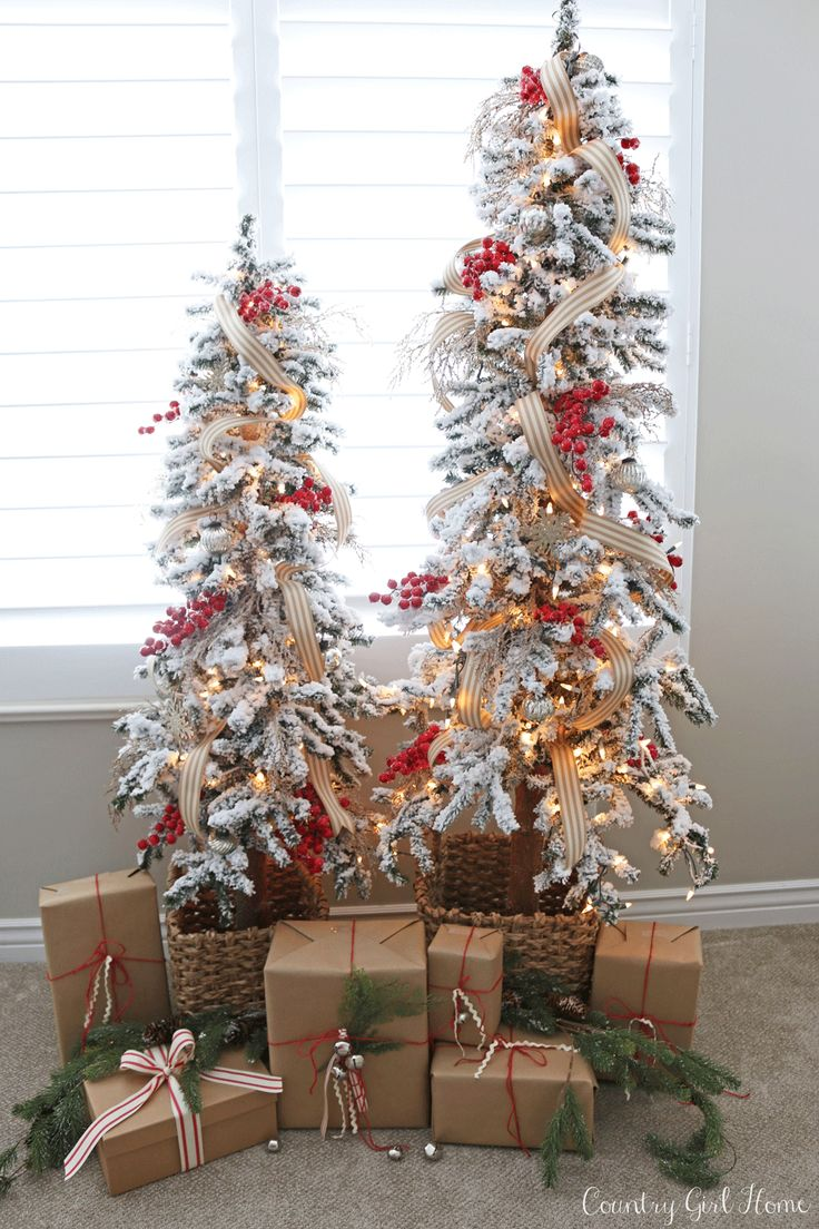 DIY Flocked trees Country Girl Home blog Flocked