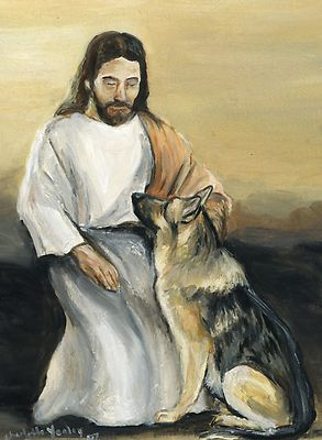 Jesus with Lexi ! #GermanShepherd #dog Please love them and take care of them for us, Dear Jesus!