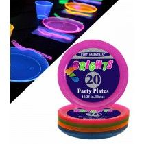 20 assiettes fluo UV assorties