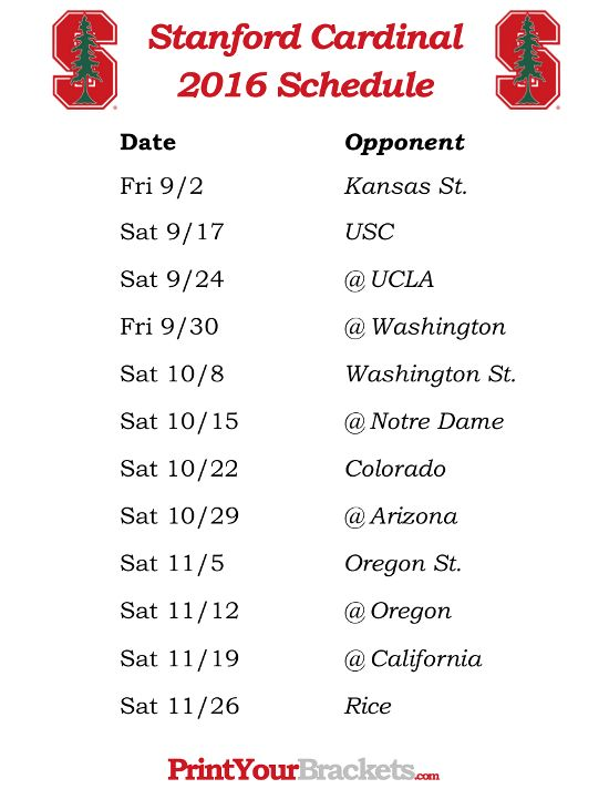 Printable Stanford Cardinal Football Schedule 2016
