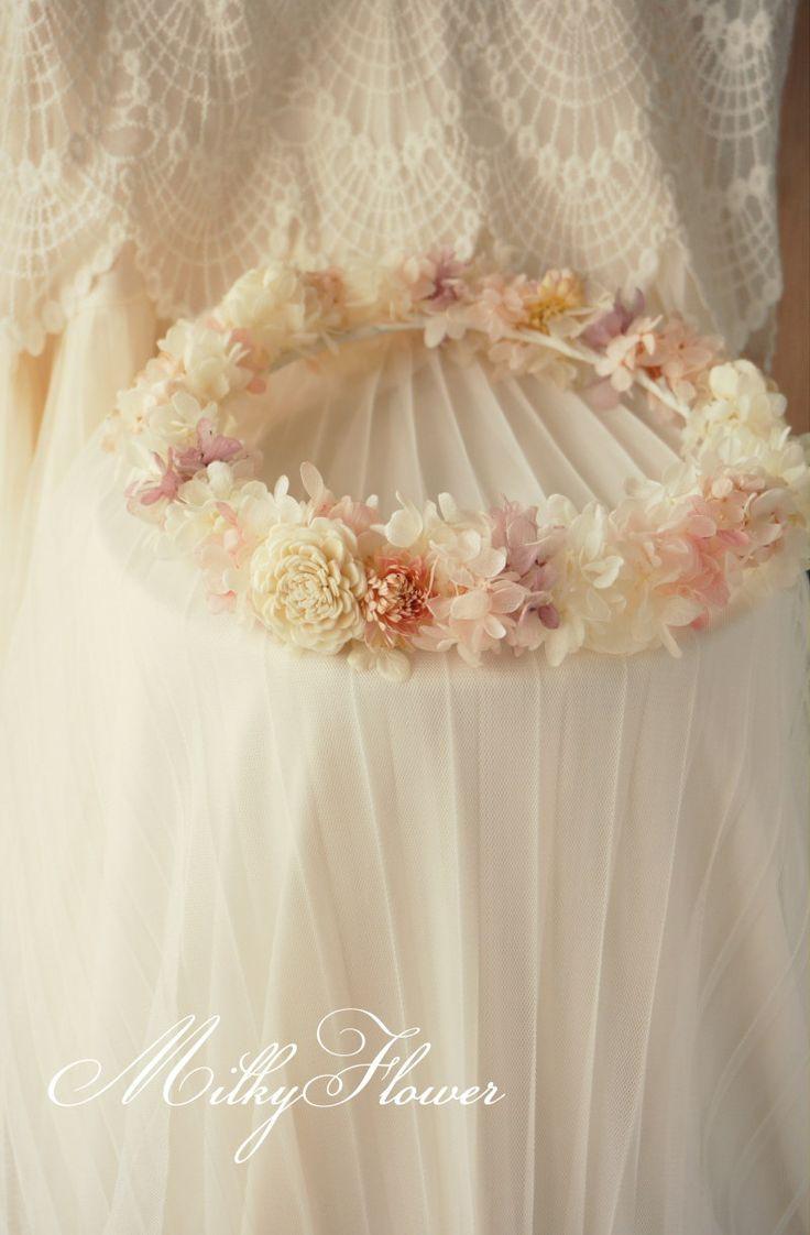 ふわふわな花冠 * ホワイト×ピンク×パープル |ウェディング&フラワーリースのMilkyFlower*|Ameba (アメーバ)
