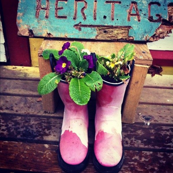 Old wellies as planters... don't forget drainage holes! #reuse