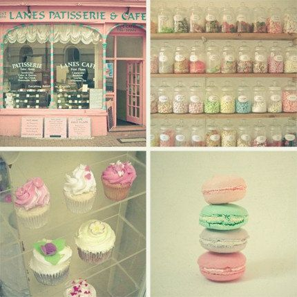 Food photograph set  Pastel candy colours kitchen art by LolasRoom, $35.00